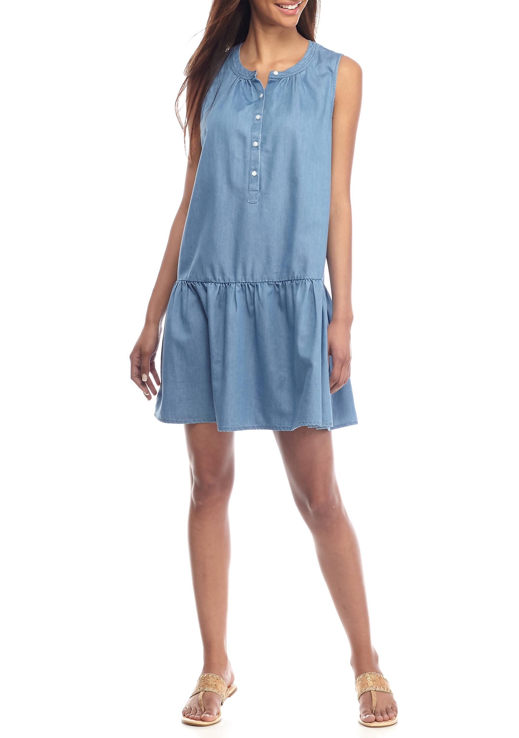 Crown & Ivy™ Sleeveless Chambray Dress | belk