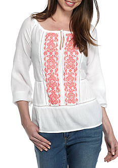Crown & Ivy™ Gathered Neck Peasant Top