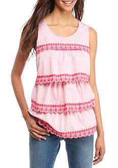 Crown & Ivy™ Sleeveless Stripe Tier Top