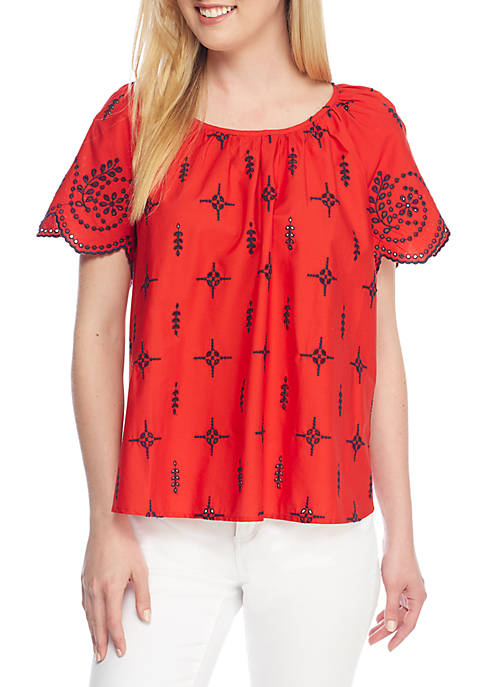 Crown & Ivy™ Short Sleeve Schiffly Top