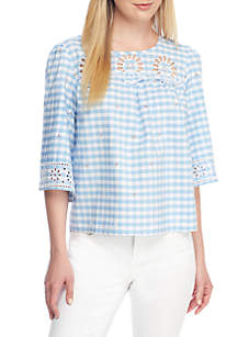 Gingham Schiffly Top