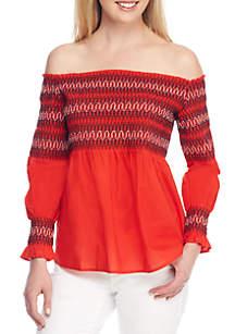 Off-The-Shoulder Smocked Embroidered Top