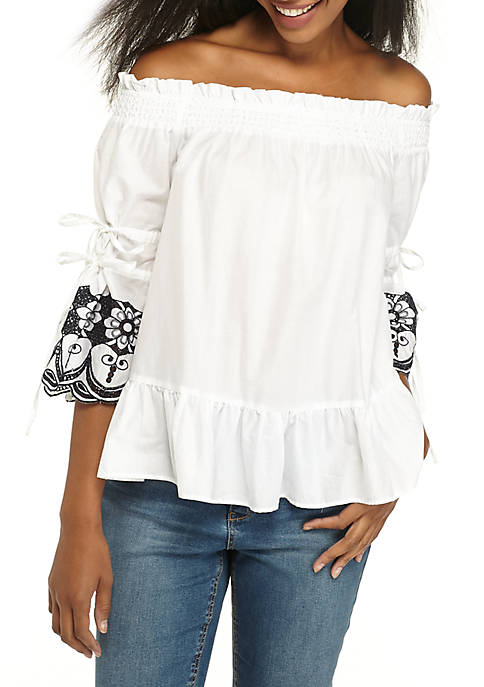 Crown & Ivy™ Off-the-Shoulder Schiffily Sleeve Top