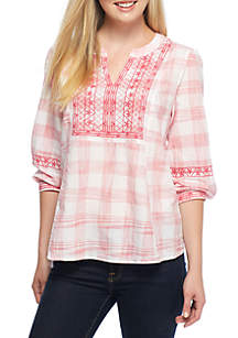 Three-Quarter Sleeve Embroidered Peasant Top