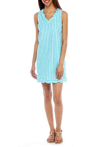 Crown & Ivy™ Yarn Dyed Scallop Dress ...