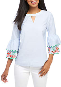 Embroidered Cold-Shoulder Tee