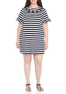 Tassel Neck Shift Dress