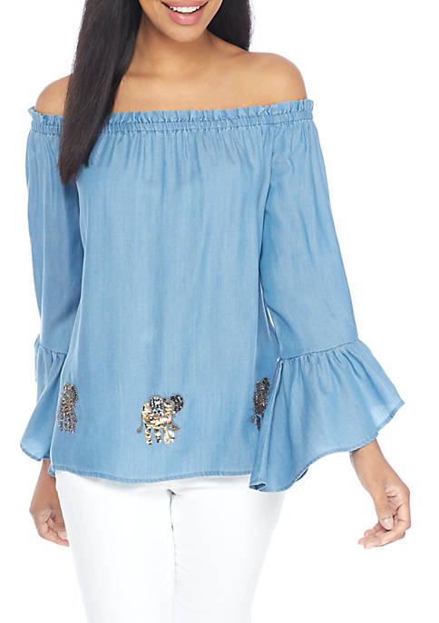 Crown & Ivy™ Off-the-Shoulder Tencel Elephant Top