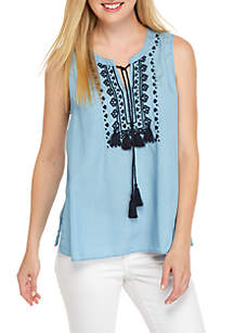 Embroidered Tencel Peasant Top
