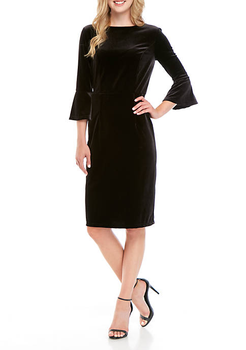 Womens Round Neck Solid Dress