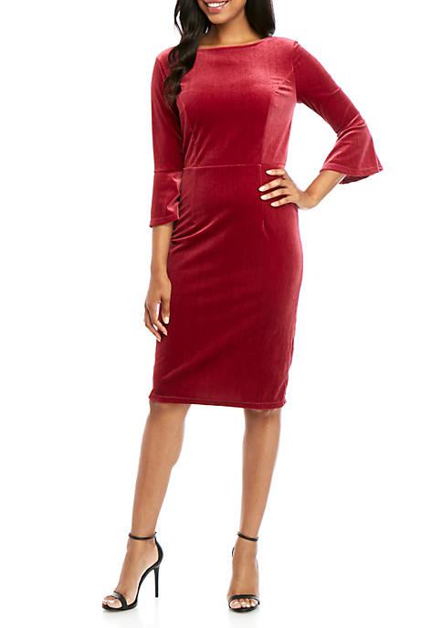 Crown & Ivy™ Womens Round Neck Solid Dress