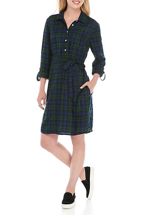 Crown & Ivy™ Long Sleeve Plaid Shirt Dress