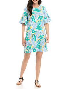 Crown & Ivy™ Printed Bell Sleeve Dress