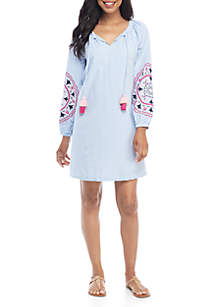Crown & Ivy™ Long Sleeve Embroidered Peasant Dress