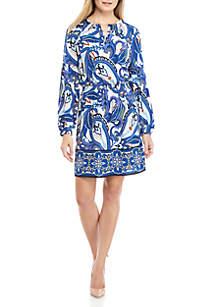 Crown & Ivy™ Long Sleeve Ruffle Neck Printed Peasant Dress