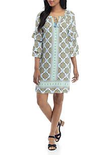 Crown & Ivy™ Long Ruffle Sleeve Split Neck Printed Dress