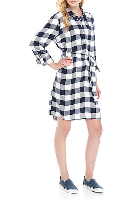Crown & Ivy™ Long Sleeve Gingham Shirt Dress