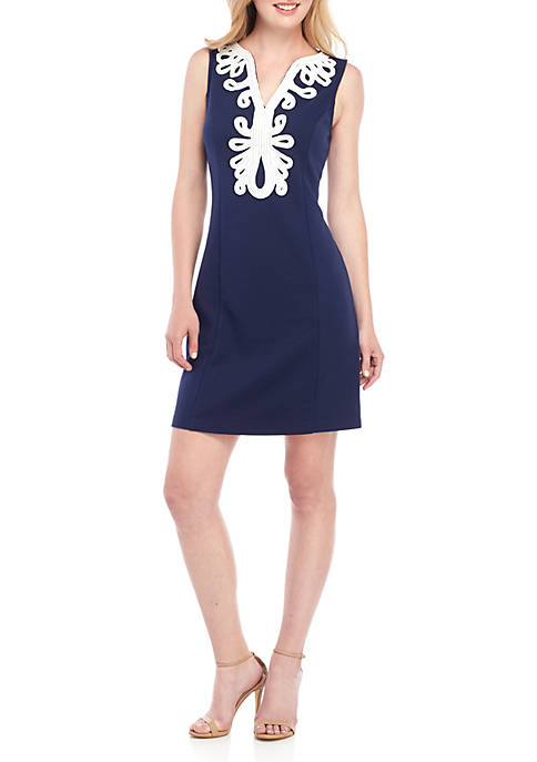 Crown & Ivy™ Sleeveless Soutache Shift Dress