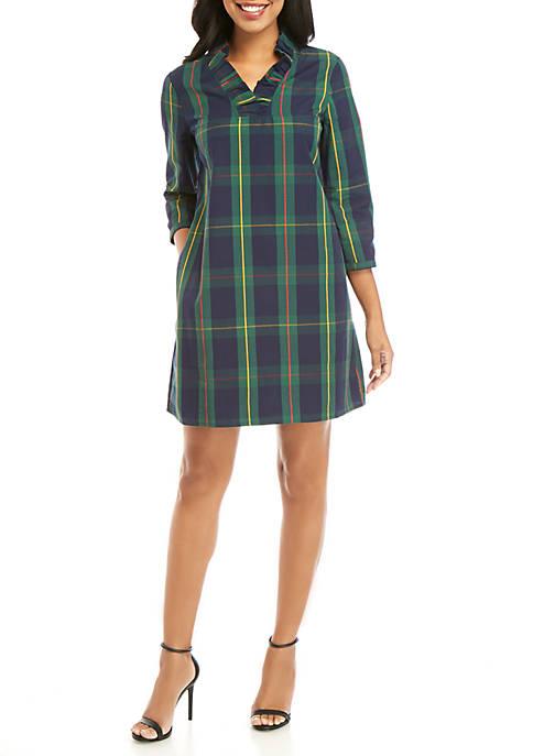 Womens 3/4 Sleeve Ruffle Neck Dress