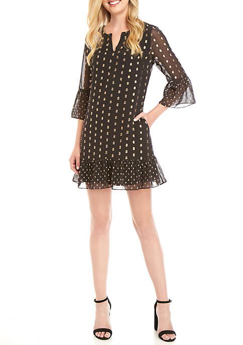 Womens 3/4 Bell Sleeve Dress