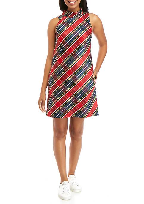 Womens Ruffle Neck Plaid Dress