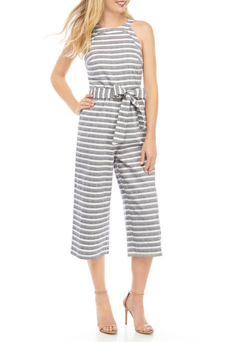Womens High Neck Yarn Dye Jumpsuit