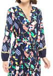 Womens Long Sleeve Button Print Midi Dress