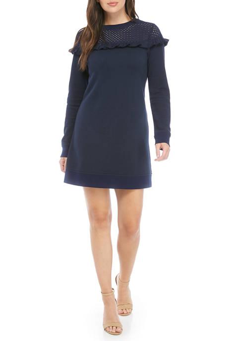 Crown & Ivy™ Womens Eyelet Yoke Dress