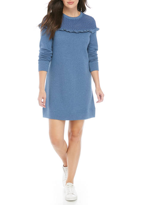 Womens Eyelet Yoke Dress