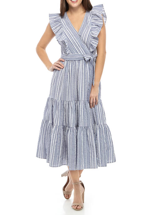 Crown & Ivy™ Womens Sleeveless Wrap Midi Dress