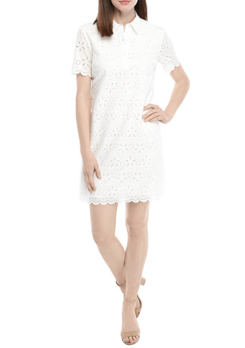 Crown & Ivy™ Womens Short Sleeve Eyelet Collared