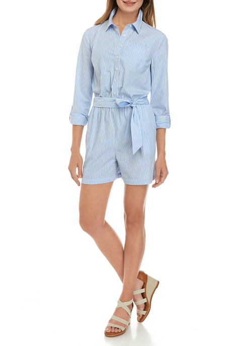 Womens Long Sleeve Button Up Romper