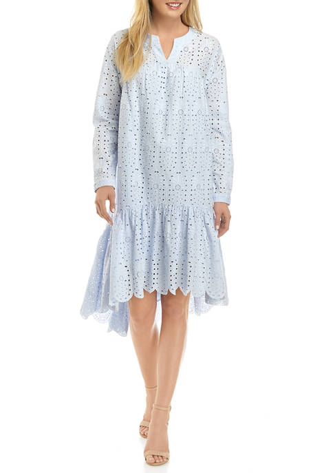 Crown & Ivy™ Womens Long Sleeve Eyelet Dress