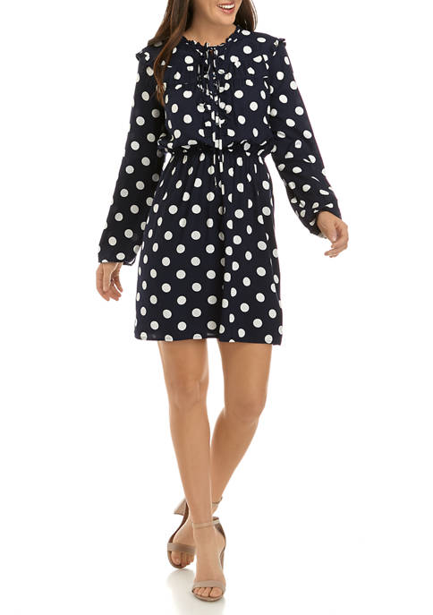 Crown & Ivy™ Womens Ruffle Sleeve Dot Print