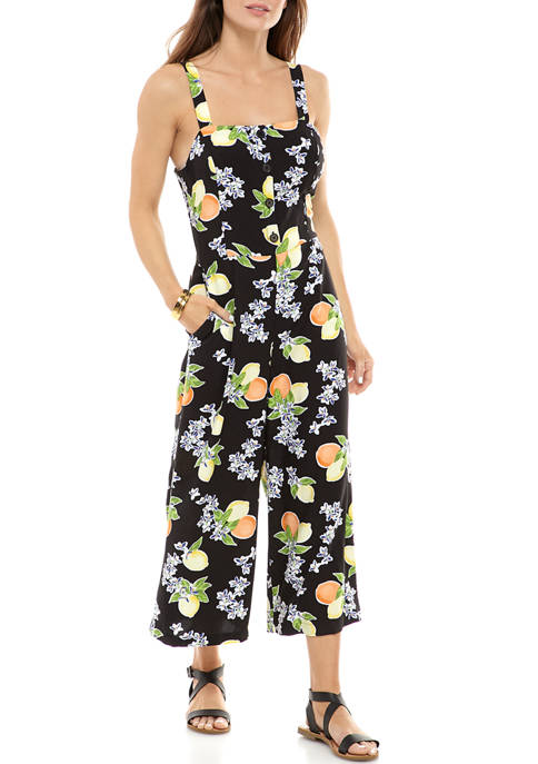 Womens Sleeveless Button Front Jumpsuit