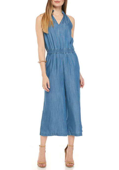 Crown & Ivy™ Womens Yarn Dyed Halter Jumpsuit