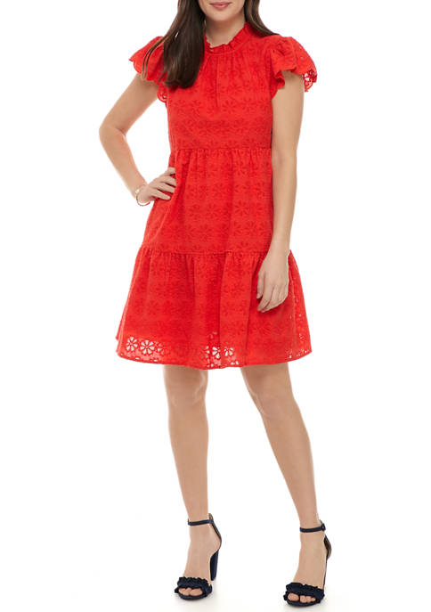 Crown & Ivy™ Womens Short Sleeve Tiered Dress