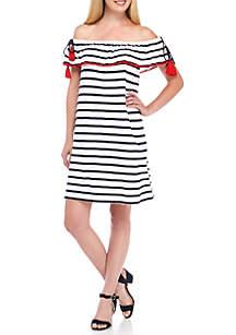 Off-The-Shoulder Contrast Dress