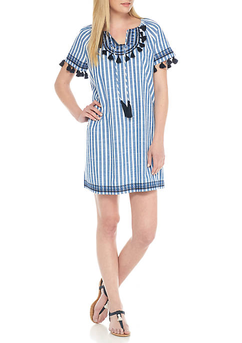 Crown & Ivy™ Embroidery Tassel Stripe Dress