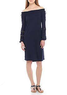 Off-The-Shoulder Crochet Dress