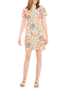 Short Sleeve Keyhole Shift Print Dress