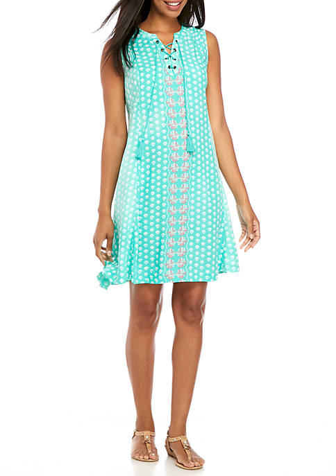 Crown & Ivy™ Sleeveless Lace-Up Printed Dress