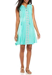 Sleeveless Lace-Up Printed Dress