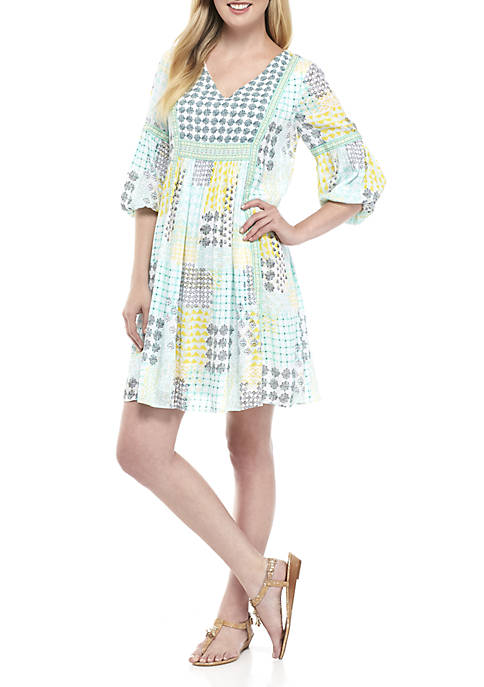 Crown & Ivy™ Three-Quarter Printed Peasant Dress