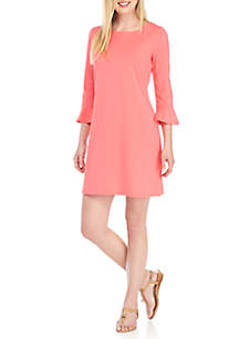 Three-Quarter Flare Sleeve Dress