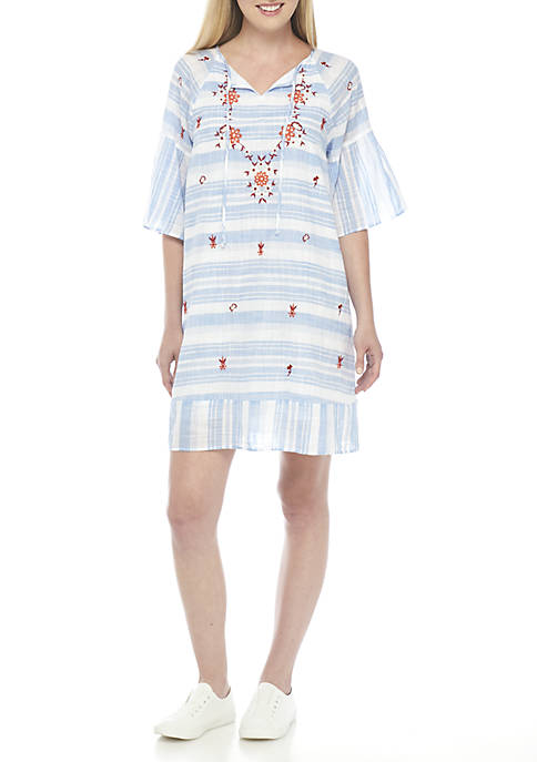 Crown & Ivy™ Three-Quarter Sleeve Embroidered Dress