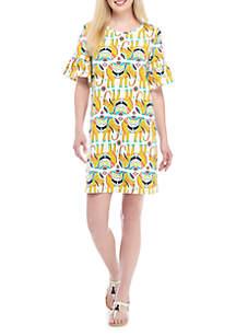 Short Sleeve Dolphin Hem Printed Dress