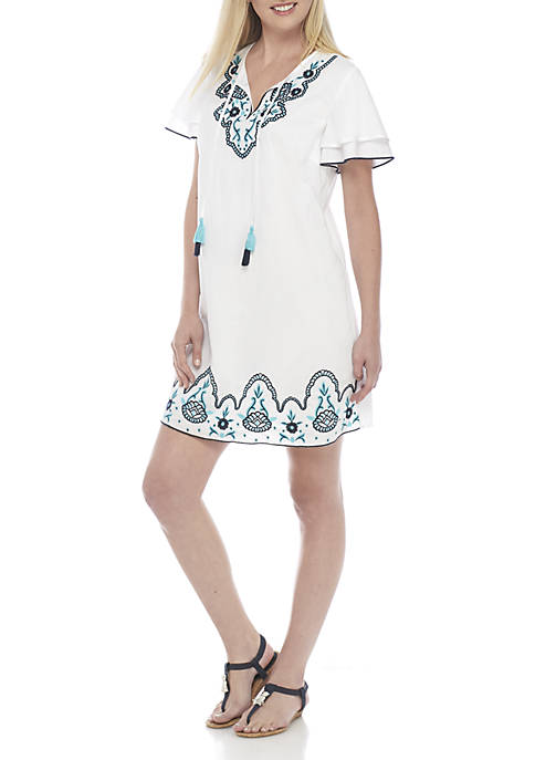 Crown & Ivy™ Double Sleeve Embroidered Solid Dress