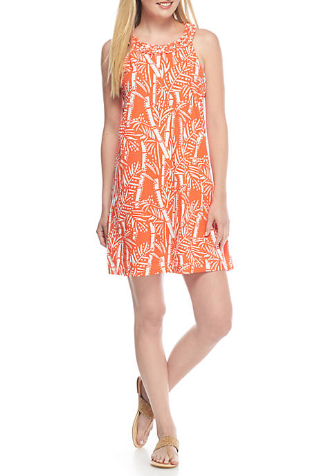 Crown & Ivy™ Sleeveless Printed Halter Dress