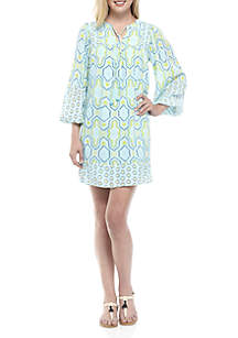 Three-Quarter Bell Sleeve Embroidered Print Dress